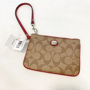 Coach Signature Khaki/Red Small Wristlet